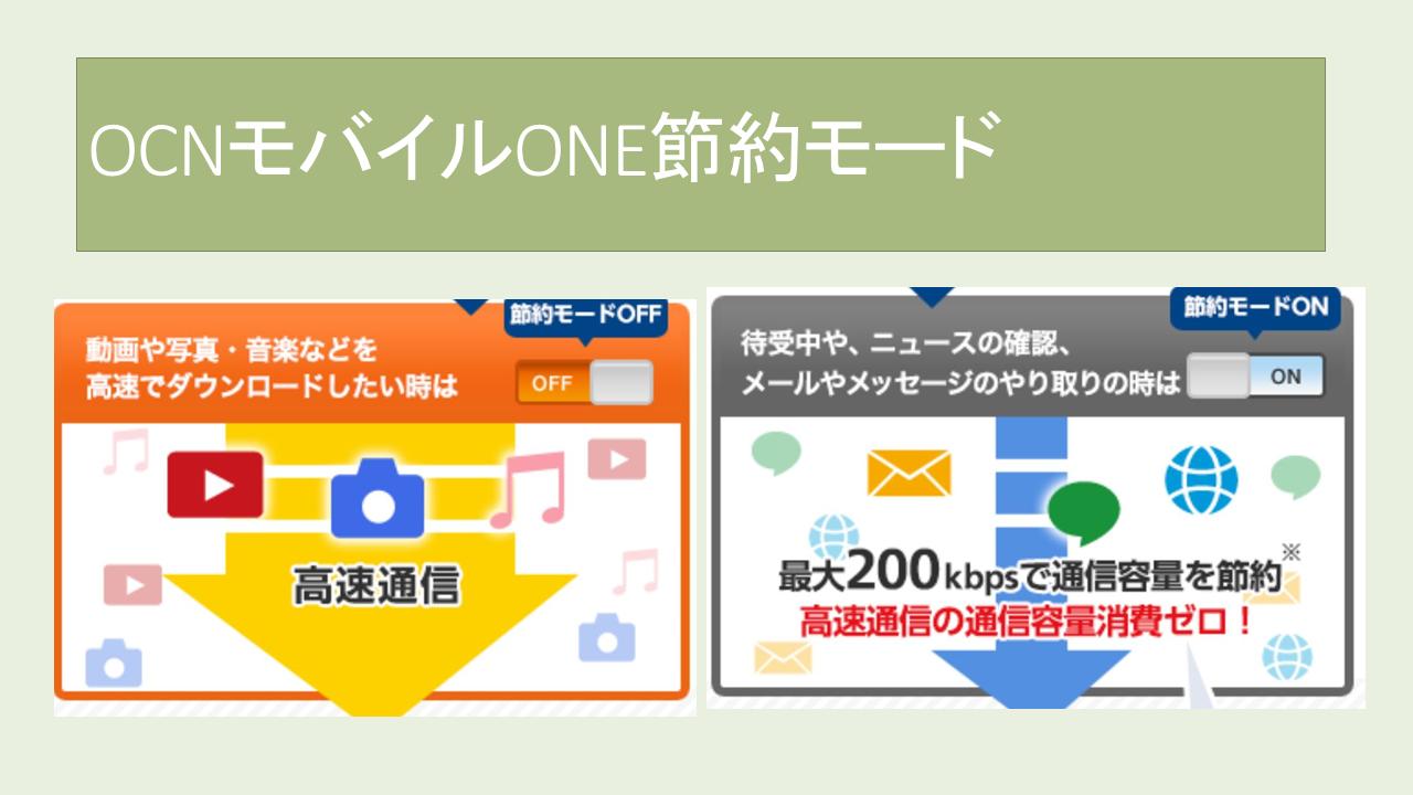 OCNモバイルONE節約モード速度!切り替えできない?